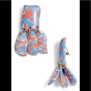 LeLe Sadoughi Garden Iris Petal Drop Blue Earrings